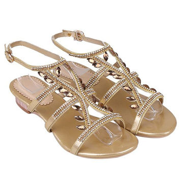 Stylish Faux Jewel and Flat Heel Design Sandals For Women