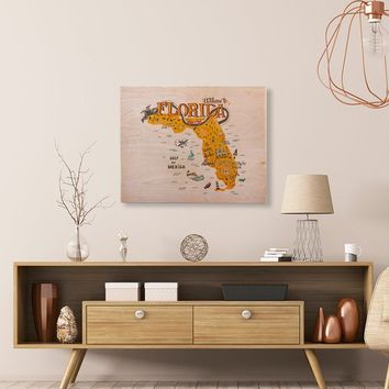 Florida Map Printed Birchwood Wall Art Unique Trendy Home Decor College Dorm Room Wood  Custom