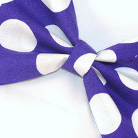 Hair Bow Vintage Inspired Purple with large dots with Aligator Clip Rockabilly Pin up Teen Woman