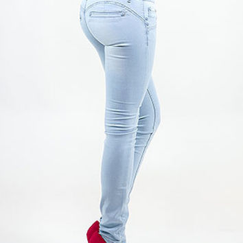 Shop Trendy Juniors High Waist Butt Lift Jeans (Light Wash) in Butt Lifting