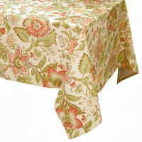 Raymond Waites Premium Quality Table Cloth - Table linen (Beige/Multicolored Flowers) - Rectangular Tablecloth 60 in x 102 in