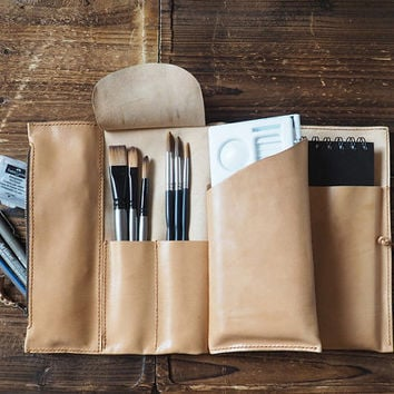 Leather Sketch Book Case - Art Supply Organizer, Pencil Case, Brush Tool Case, Custom, personalized Journal (Sheepskin Leather)#Light Brown
