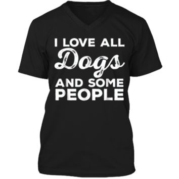 I Love All Dogs  Funny Introvert Doggy Lover  Mens Printed V-Neck T