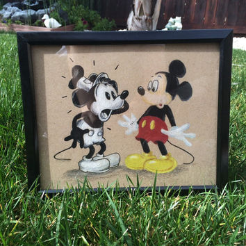 Mickey Mouse Steamboat Willie 8x10 & 11x14 Art Print Mickey Meets Mickey Vintage Disney Art (2 Sizes Available)