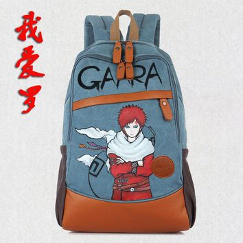 Naruto Sasauke ninja Anime  Cosplay  Student bag college wind shoulder bag men and women backpack graffiti canvas bag Children birthday gift AT_81_8