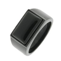 Men's Black-Tone Stainless Steel Black Onyx Ring, Size 11