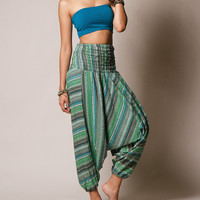 Emerald Indian Striped Harem Yoga Pants