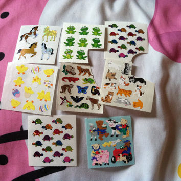 x8 Huge Sticker Lot Random Assortment of Animals Turtles Frogs Horses Cats Tropical Peep Bird Easter