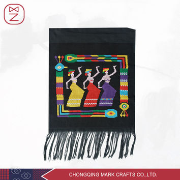 Handmade Embroidery Tribal Wall Hangings Art Peacock Tapestry with Macrame Chinese Sexy Dancing Girls for Wall Decor