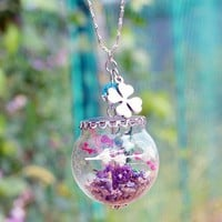 Wish Bottle Pendant Starfish feather Glass charm locket Vial Necklace Beach Jewelry