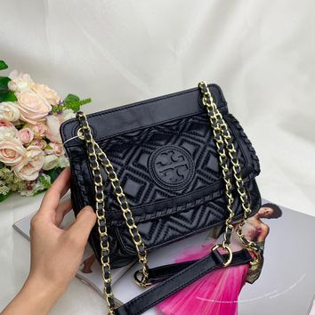 Kuyou Gb99822 Tory Burch Leather Chain Strap  Black Crossbody Bag 22x18x12 Cm