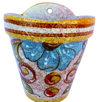 Wall Hanging Flower Pot (Yellow Design) - Hand Painted in Spain