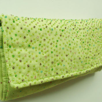 Light Green Diaper Clutch in Polka Dot Pattern with Beads