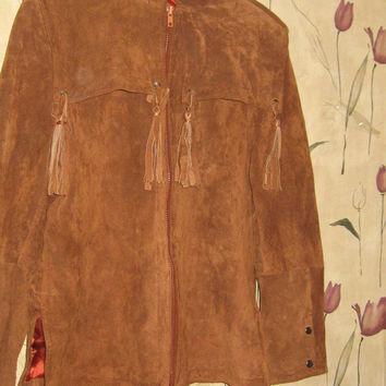 rocker 80s hipster  womens Wilsons suede leather fringe jacket size10