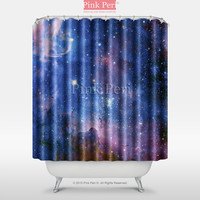 Deep Blue Milky Way Nebula Space Galaxy Shower Curtain Home & Living 011