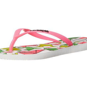 Havaianas Slim Cool Flip Flops White Rose