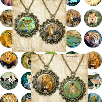 African Lions Painting Art - - Digital Collage Sheets - 1.5 inch Circles for Jewelry Makers, Party Favors, Wedding Projects, Crafts