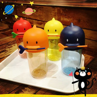 Outdoor Portable Water Bottle Duck Cover Heat-resistant Transparent Bottle 330ML