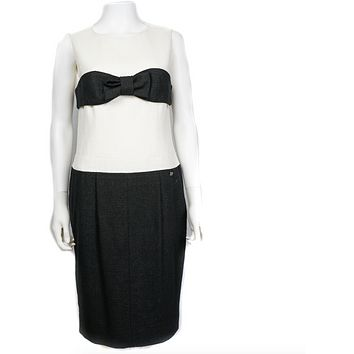 Chanel Black and White Dress with Bow  Tweed Wool Blend Silk