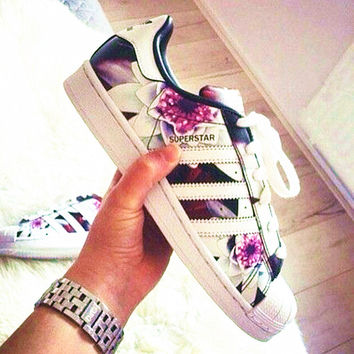 """Adidas"" Fashion Shell-toe Flats Sneakers Sport Shoes Print Purple floral"