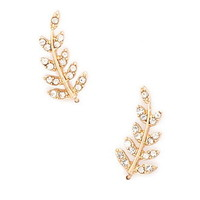 Rhinestone Leaf Ear Pins