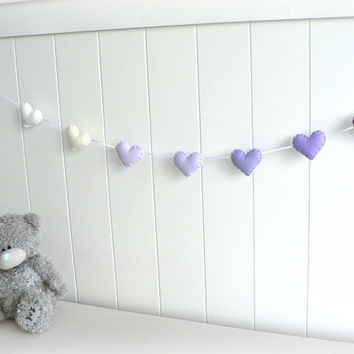 Heart garland - banner - bunting - purple, white and cream - Nursery decor - birthday decoration - custom made - ombré