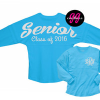 Glitter Senior 2016 Spirit Jersey with Custom Monogram - Choose Your Tee and Glitter Color