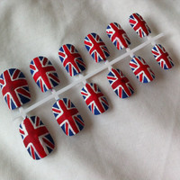 Matte Union Jack False Nails