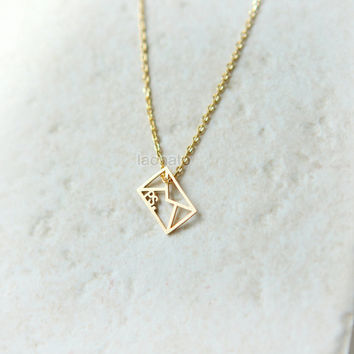 Envelope Necklace / choose your color, gold and silver