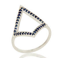 925 Sterling Silver Blue Sapphire Gemstone Accent Open Ring