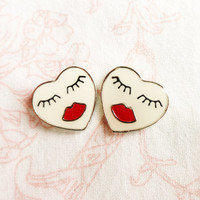 Heart earrings, women face with sexy red lips, heart jewelry, best friend birthday gift for girls, best selling items, unique earrings women