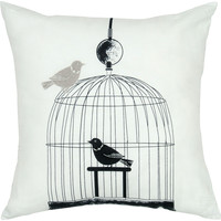 """Embroidered Black Pillow Cover (18"""" x 18"""")"""