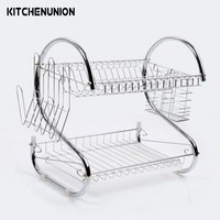 2 Tier Chrome Plate Dish Cutlery Cup Drainer Rack Drip Tray Plates Holder Silver Kitchen Storage Shelf KC36491