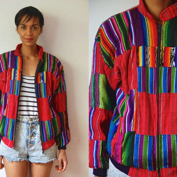 Vtg Guatemalan Colorful Tribal Print Zip Up Bomber Jacket