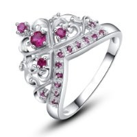 Rose Princess 18K White Gold Plated 925 Silver 6 X 2mm Gemstone Created Ruby Princess Crown Ring S-8