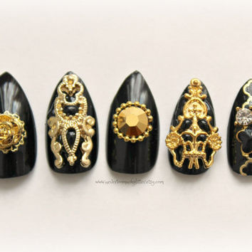 "Nail Art, Stiletto Fake Nails, ""Monaco,""  Gothic Fake Nail, 3D Nail Art, Gothic, Accessory, Stiletto Nail, Acrylic Nail, Black, 3D Fake Nail"