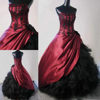 Ball Gown Victorian Gothic Bridal Gowns New Burgundy Black Corset Back Winter Custom Made Floor Length Wedding Dresses Alternative Measures - Brides & Bridesmaids - Wedding, Bridal, Prom, Formal Gown