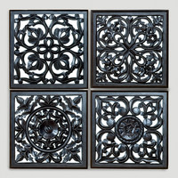 Mirrored Carved Plaque, Set of 4 - World Market
