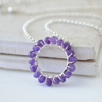 Amethyst Necklace Sterling Silver, Circle Necklace, February Birthstone, Wire Wrapped Gemstone Jewelry