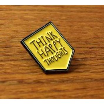 Think Happy Thoughts Enamel Pin in Sunny Yellow