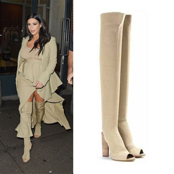 2016 New Arrival Kim Kardashian Stretch Knit Over The Knee Boots Open Toe Cut Out Thick Heel High Heel Long Boots