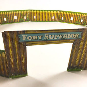 Vintage Metal Fort Toy Fort Superior Tin Toy Cowboy Indians Western Fort Toy T. Cohn Inc. Retro Graphics Metal Toy Kids Toy Nursery Decor