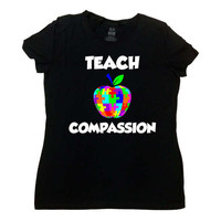 Autism Teacher Gift Ideas Autism Awareness T Shirt Autistic Support Advocate Autism Spectrum Speaks Teach Compassion Mens Lades Tee - SA772