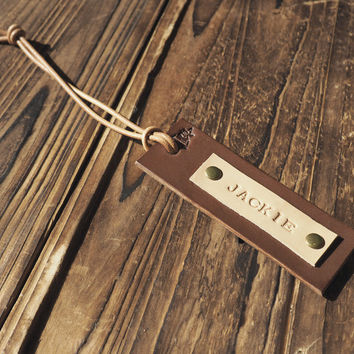 Personalized Leather Luggage Tag #Brown