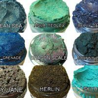 BLUES/GREENS 10 Sample Mini Size Jars Glitter Eyeshadow Pigment Glitter Lumikki Cosmetics Trial Mini Size