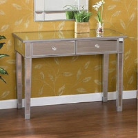 Mirrored Console Table Vanity Desk Mirror Glam Drawers Furniture Hallway Entry