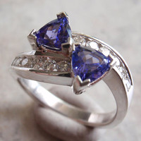 Tanzanite Ring Natural Gemstones Diamond Accent Sterling Silver Size 6-3/4 Vintage AT0047
