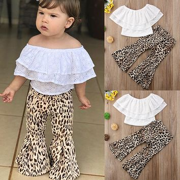 US Kids Baby Girl Clothes Lace Top T shirt+Flares Pants Bell Bottoms Outfits Set
