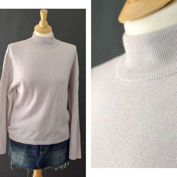 Vintage 80s Turtleneck, Pastel Goth Lavender Long Sleeve Shirt, Layering Shirt, Pull Over Shirt, Metallic 80s Shirt, Women's Size Medium