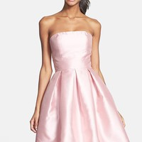 ML Monique Lhuillier Bridesmaids Strapless Pleated Fit & Flare Dress